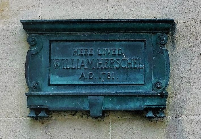 Plaque to Sir William Herschel on his house in Bath