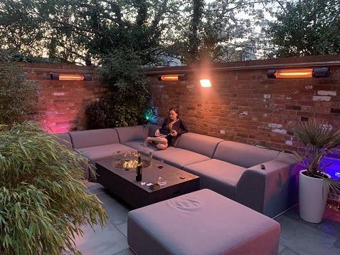 London terrace heated by wall-mounted California heaters